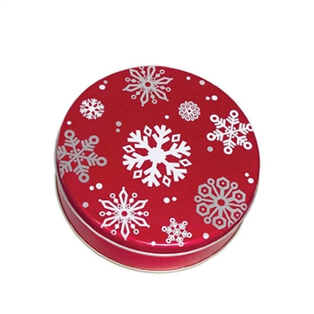 Christmas Cookie Tins Wholesale Red With Snowflakes Pattern